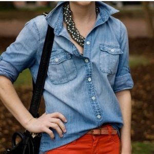 J crew chambray keeper double pocket button up/6